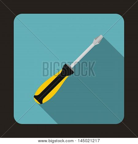 Screwdriver icon in flat style on a baby blue background