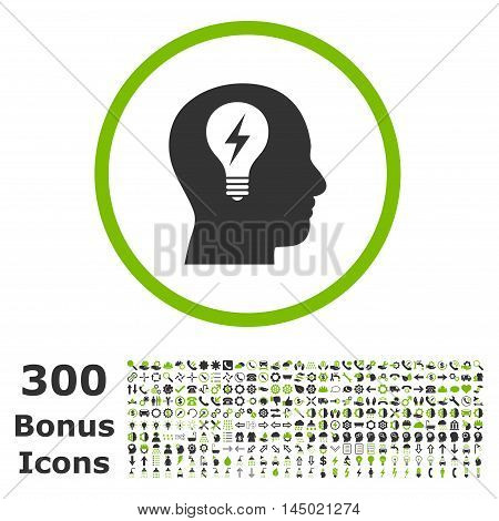 Head Bulb rounded icon with 300 bonus icons. Vector illustration style is flat iconic bicolor symbols, eco green and gray colors, white background.