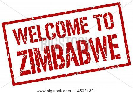 welcome to Zimbabwe. stamp. grunge square sign