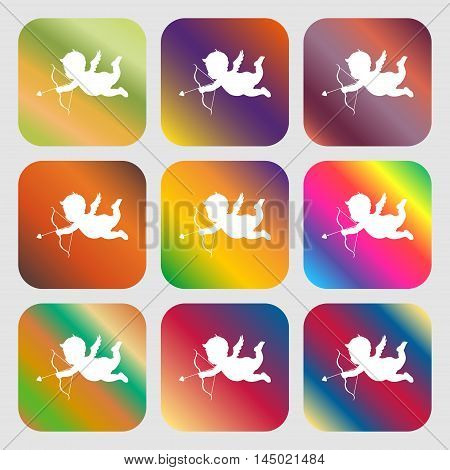 Cupid Sign Icon . Nine Buttons With Bright Gradients For Beautiful Design. Vector