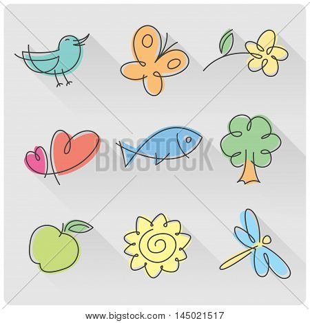 Set of tiny nature signs of bird, butterfly, flower, hearts, fish, tree, apple, sun and dragonfly