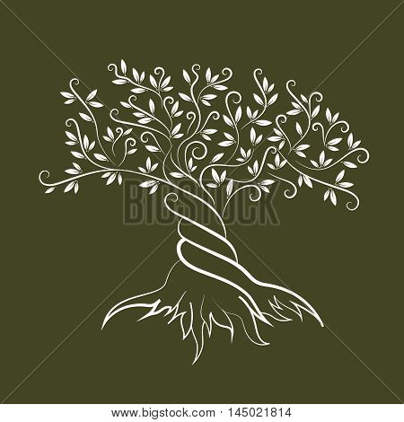 Olive tree outline curl silhouette icon isolated on green background. Web graphics stroke modern vector sign.