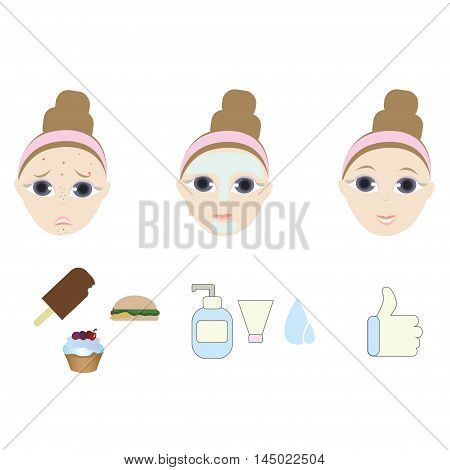 Vector set with woman washing acne face. Vector girl with face skin problem. The result of using face skin care cosmetic product cream, mask . Skincare vector icons