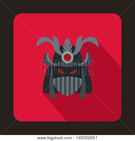 Japanese samurai mask icon in flat style on a crimson background