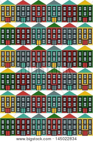 Houses vector icons set. Colorful houses in a row.