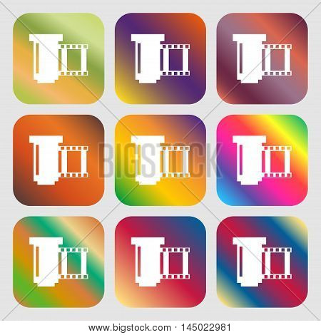 Negative Films Icon Symbol . Nine Buttons With Bright Gradients For Beautiful Design. Vector