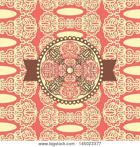 Seamless pattern with damask ornament and label. Can be used for fabric textile design