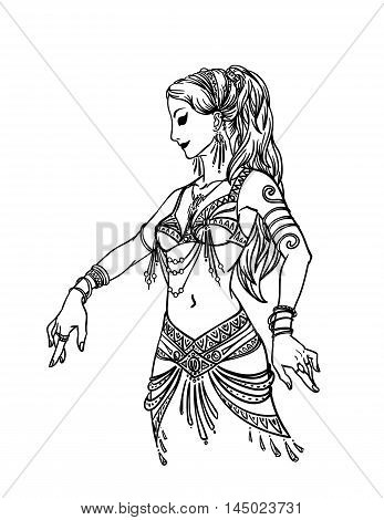 Vector Illustration of Beautiful Woman Dancing in Hand Drawn Style on a White Background for Your Design. Femininity.