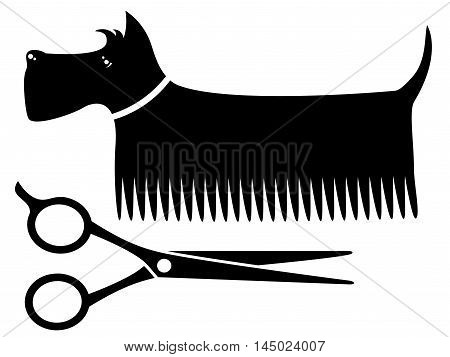 isolated black grooming dog silhouette with scissors
