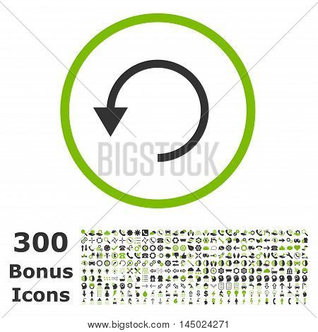 Rotate Ccw rounded icon with 300 bonus icons. Vector illustration style is flat iconic bicolor symbols, eco green and gray colors, white background.
