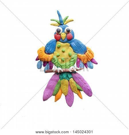 Plasticine  Fantasy bird sculpture isolated on white