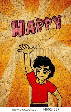 art man pursuit happy cartoon on grunge illustration background
