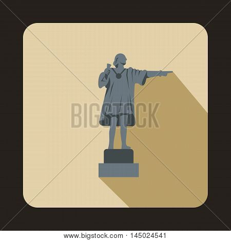 Statue of Christopher Columbus pointing on the America icon in flat style isolated with long shadow