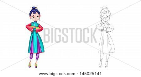 Princess 20: Female Taoist Priest, Woman Warrior, Girl Martial Artist. Coloring Book, Outline Sketch, Human Character Design isolated on White Background
