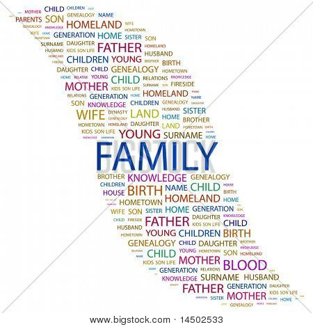 FAMILY. Word collage on white background. Vector illustration. Illustration with different association terms.