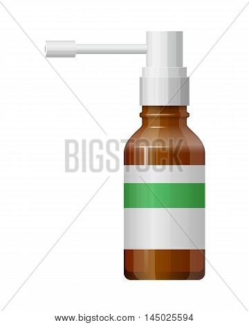 Vector glass spray bottle with drug. Packaging aerosol. Pharmaceutical symbol. Package for liquid. Medical illustration isolated on white background. Medicine flat icon