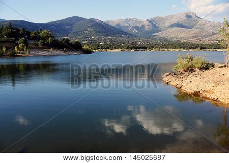 Reservoir Navacerrada, in Madrid, España.  Located in the Sierra de Guadarrama