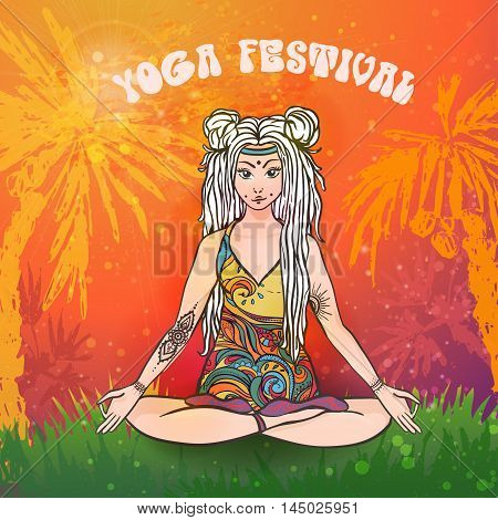 Hippie girl with dreadlocks. Hippie style Yoga poses Love and Music with hand written fonts, hand drawn hippie girl and textures. Hippy color vector illustration. Retro 1960s, 60s, 70s