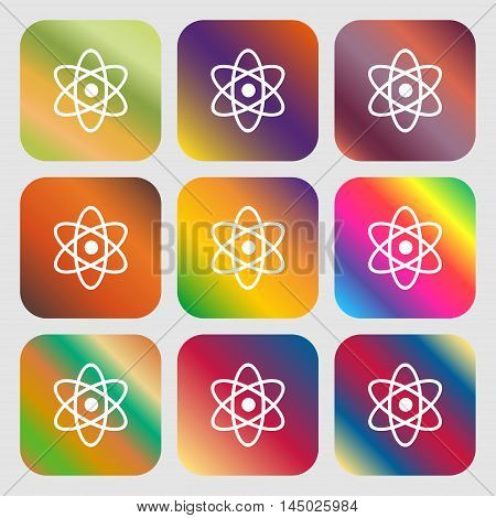 Atom, Physics Sign Icon . Nine Buttons With Bright Gradients For Beautiful Design. Vector