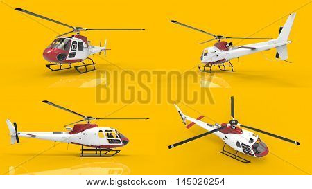 Set civilian helicopter on a yellow background. 3d illustration