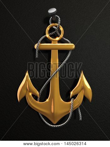Gold anchor with metal rope isolated on a black background