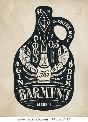 Poster bottle of alcohol with hand drawn lettering. Black vintage drawing for pub, bar menu, beer card, t-shirt print and alcohol themes. Bottle of bar menu with lettering. Vector Illustration