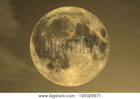 Full Moon Over Blue Sky Sepia