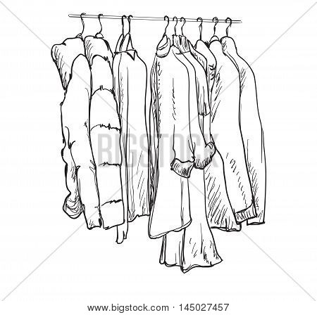 Hand drawn wardrobe sketch. Clothes on the hangers