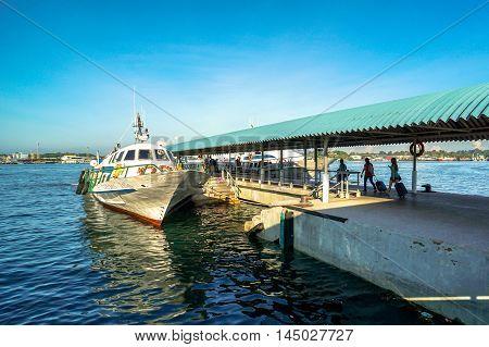 Labuan,Malaysia-Aug 30,2016:Labuan Express ferry ready to Kota KInabalu,Sabah at Labuan International Ferry Terminal,Labuan Pearl Of Borneo,Malaysia on 30th Aug 2016.