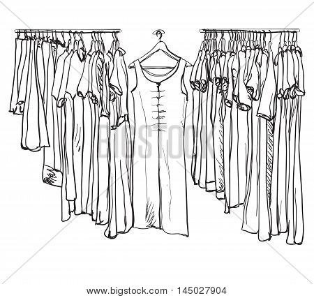 Cute hand drawn illustration with fashionable clothes for women on hangers on white background.