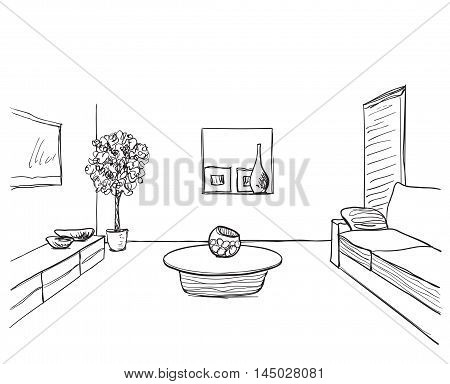 Hand drawn room interior sketch. Table and flowerpot