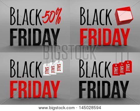Black friday super sale. Raster illustration. Three-dimensional graphics. Sales, huge discounts. 3d illustration
