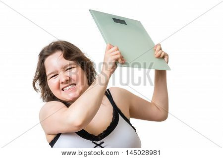 Angry Overweight Woman Is Frustrated From Her Weight. She Is Thr