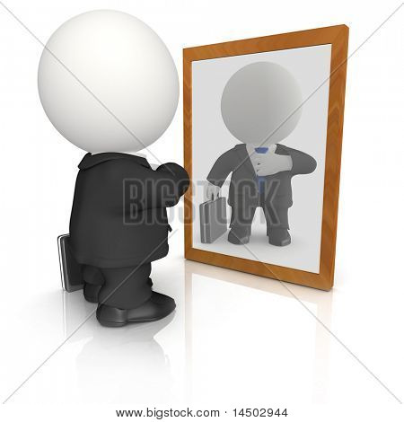 3D vain business man looking in the mirror - isolated