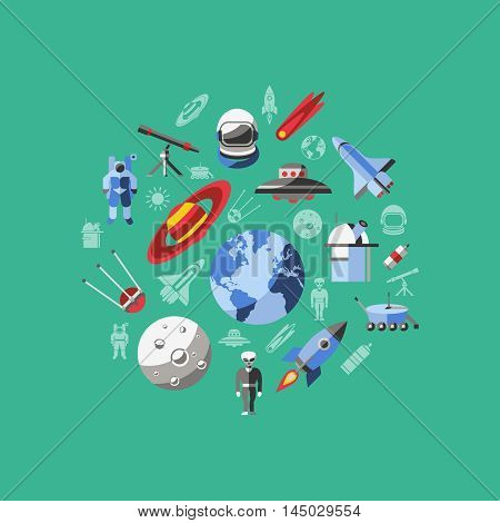 Flat space composition with isolated icon set in round on green background vector illustration