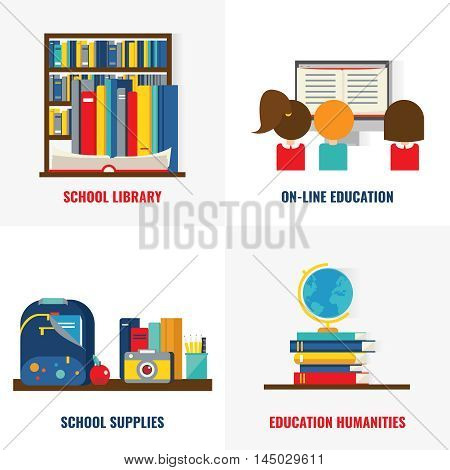 School books colorful compositions with library and online training educational supplies and humanities isolated vector illustration