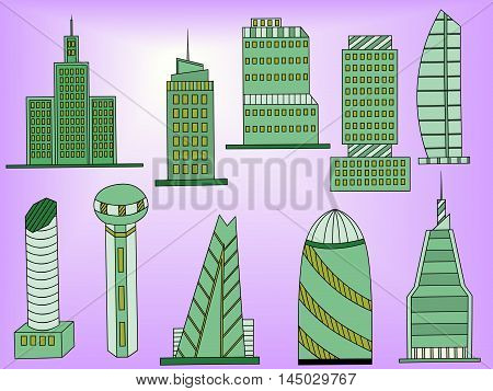 Famous capitals and cities characteristic downtown business center edifice buildings silhouettes day skyline abstract isolated vector illustration