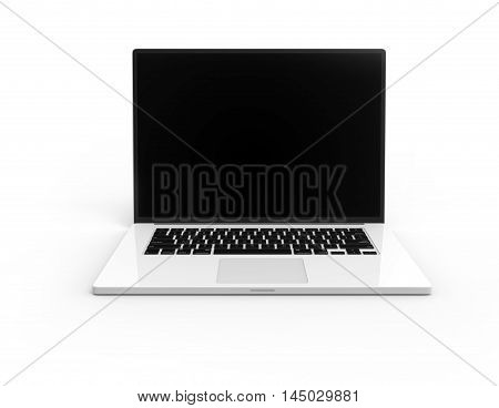 Illustration of 3D white laptop isolated with black display