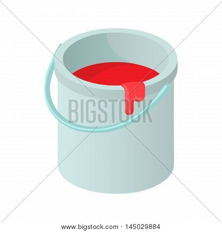 Bucket of paint icon in cartoon style isolated on white background. Painting symbol