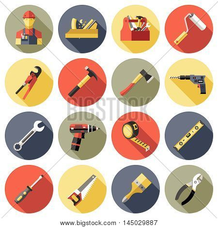 Work tools icon set in colored circles with working tools for construction and repair vector illustration