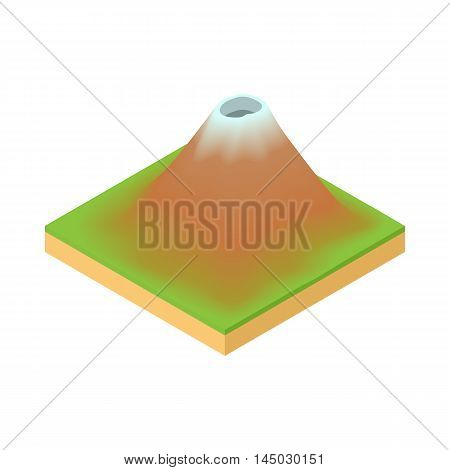 Volcano icon in cartoon style isolated on white background. Nature symbol