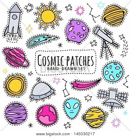 Fun patch set. Pin, badge, sticker collection Vector illustration
