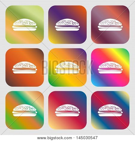 Burger, Hamburger Sign Icon . Nine Buttons With Bright Gradients For Beautiful Design. Vector