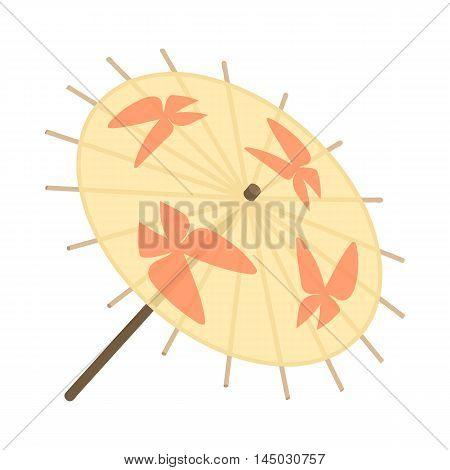 Japanese umbrella icon in cartoon style isolated on white background. Accessory symbol