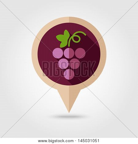 Grapes flat vector pin map icon. Map pointer. Map markers. Fruit. Vector illustration eps 10