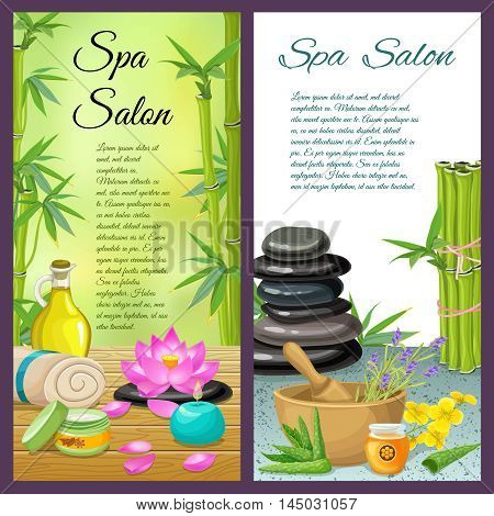 Spa salon vertical compositions with bamboo and herbs stone therapy and honey treatment cosmetics isolated vector illustration