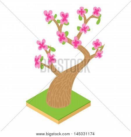 Sakura icon in cartoon style isolated on white background. Tree symbol