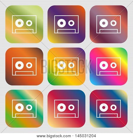 Cassette Sign Icon. Audiocassette Symbol . Nine Buttons With Bright Gradients For Beautiful Design.
