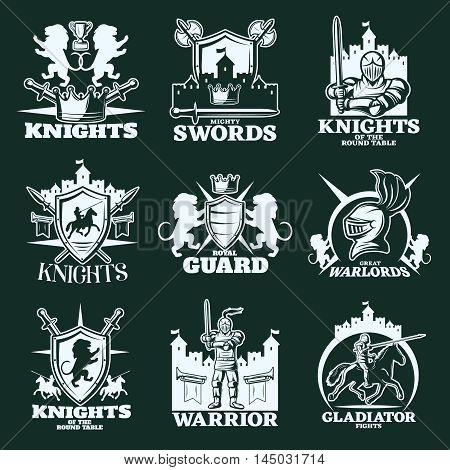 Knights monochrome emblems with warriors heraldic elements edged weapon medieval castles on black background isolated vector illustration