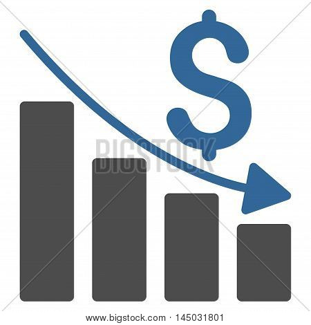 Sales Crisis Chart icon. Vector style is bicolor flat iconic symbol with rounded angles, cobalt and gray colors, white background.